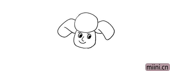 4.然后画出他大大的棉帽.注意形状。
