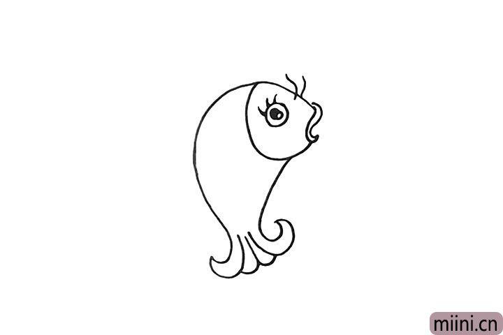 4.然后画出它的眼睛和胡须.眼睛留出高光。