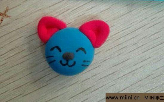 蓝色小猫咪挂件粘土教程 第4步