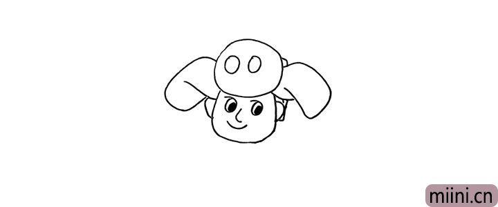 5.还有他的耳朵.再用两个圆圈装饰一下帽顶。