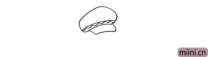 2.在画出帽檐和帽子的花边。