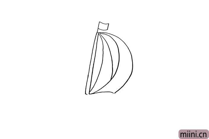 3.围绕字母D用弧线画出船帆的轮廓。