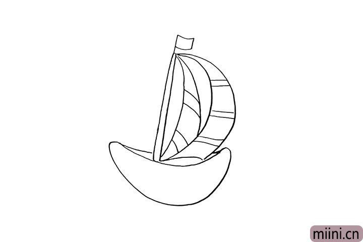5.来用线条装饰一下船帆。