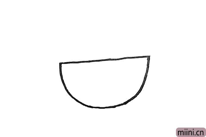 1.首先画一个大大半圆.作为婴儿车的车身。