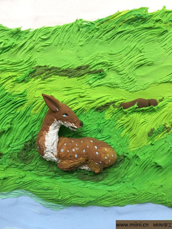 开心小鹿粘土画 第19步