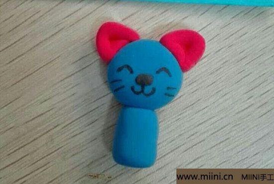 蓝色小猫咪挂件粘土教程 第6步