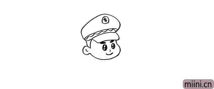 5.接着画出他的鼻子和微笑着的嘴巴。