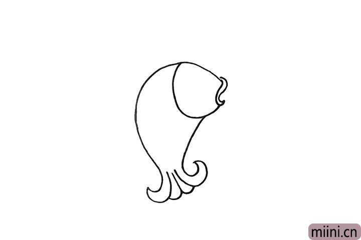 3.用弧线连接出它的尾巴部分。