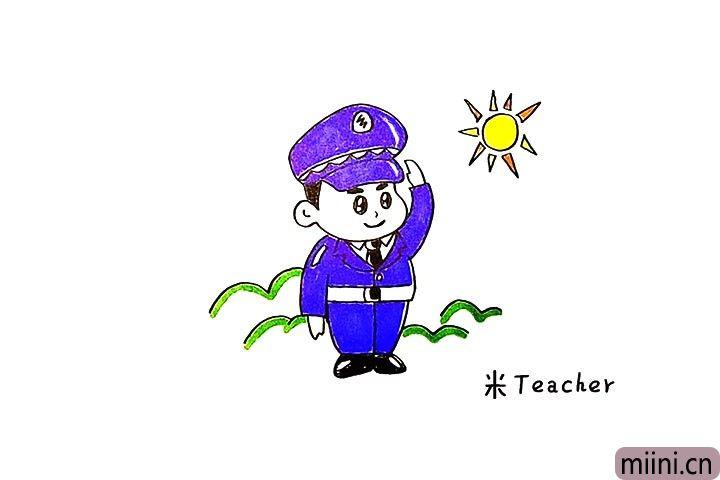警察叔叔简笔画步骤