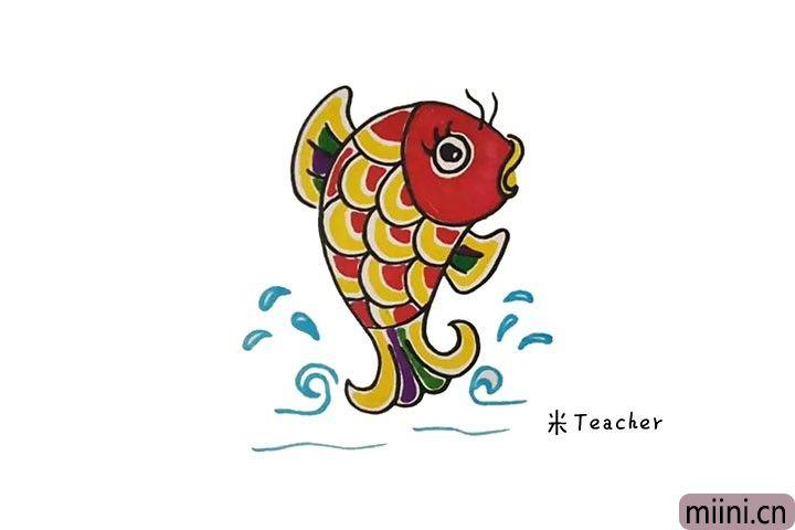 红色大鲤鱼简笔画步骤图解