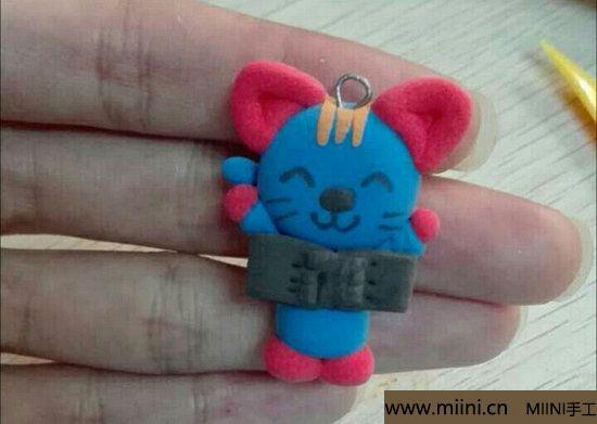 蓝色小猫咪挂件粘土教程 第17步