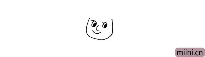 3.接着画出他的鼻子和微笑着的嘴巴。