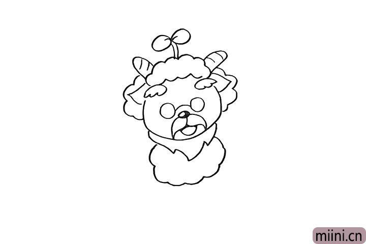 9.用波浪线画出羊村长的身体部分。