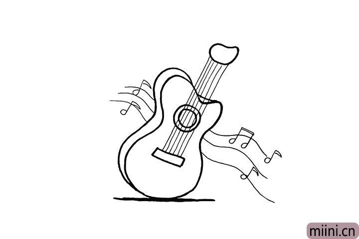 8.把周围画一些音符装饰一下。