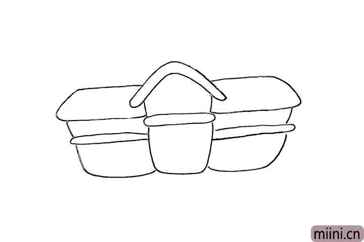 4.用同样的方法再画上右侧的房身。