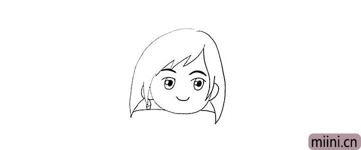 6.接着画出她的耳朵部分。