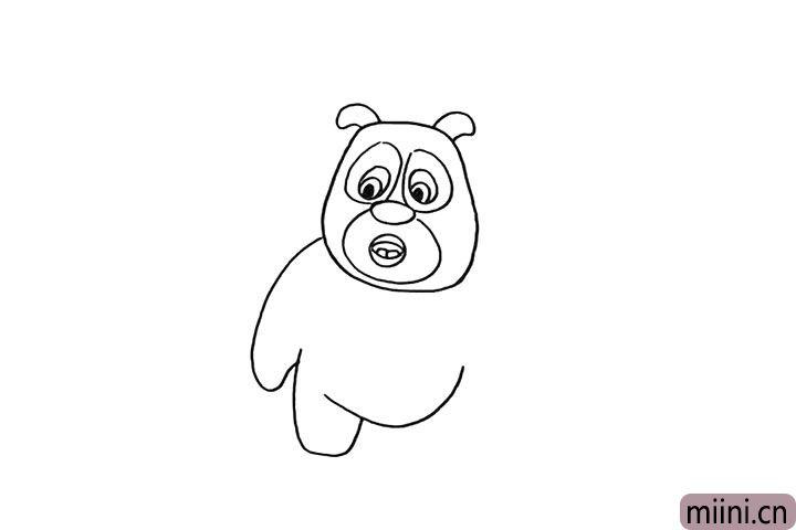 7.用一条弯曲的弧线画出他的肚子。