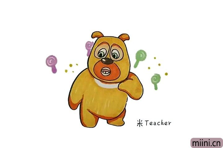 10.最后把可爱的熊二涂上漂亮的颜色吧。