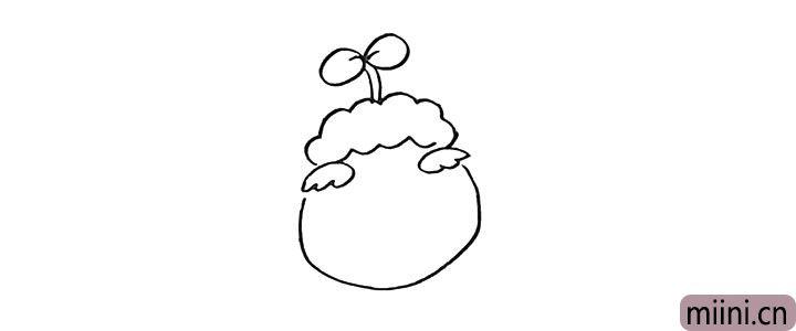 4.然后画出羊村长的脸颊部分。