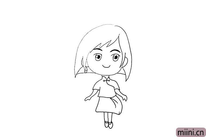 10.然后画出她的腿和脚。