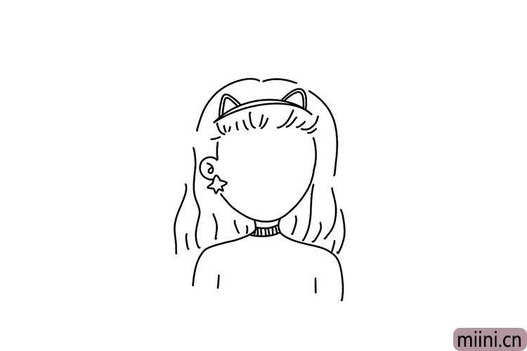 3.然后画出女神的长发。