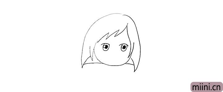 4.然后画出她大大的眼睛留出高光部分。