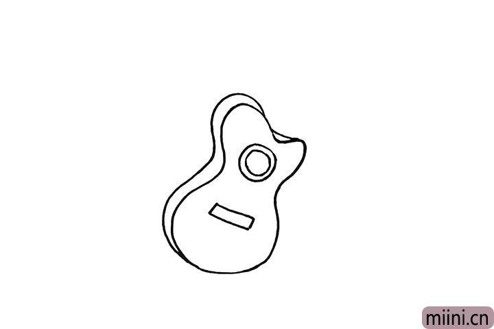 4.然后画出琴身上的音孔和下弦枕。