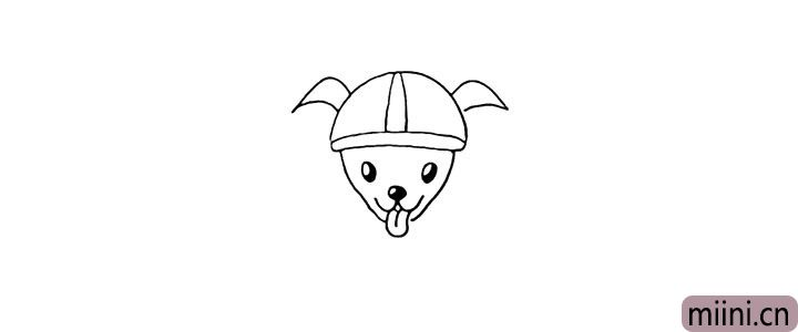 6.头顶画出尖尖的耳朵。
