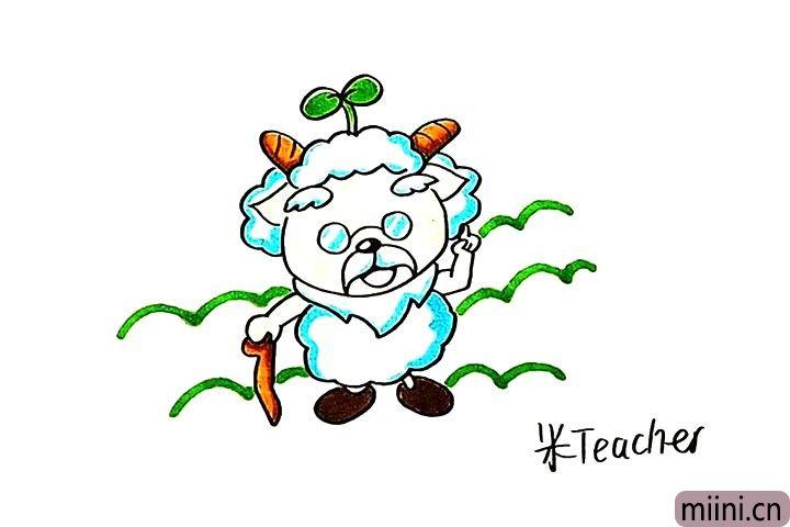 12.最后我们把羊村长涂上漂亮的颜色吧。
