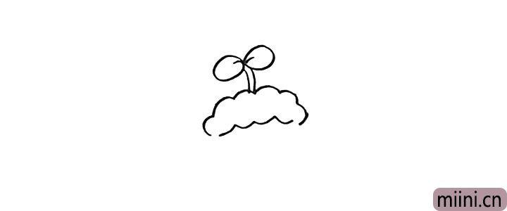 2.向下画出羊村长的毛发像一片云朵。