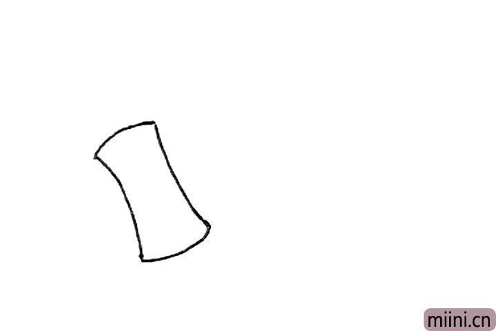 1.画上两条内凹的弧线连接起来。