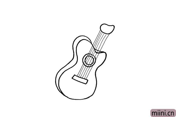 6.接着用直线画出它的琴弦。