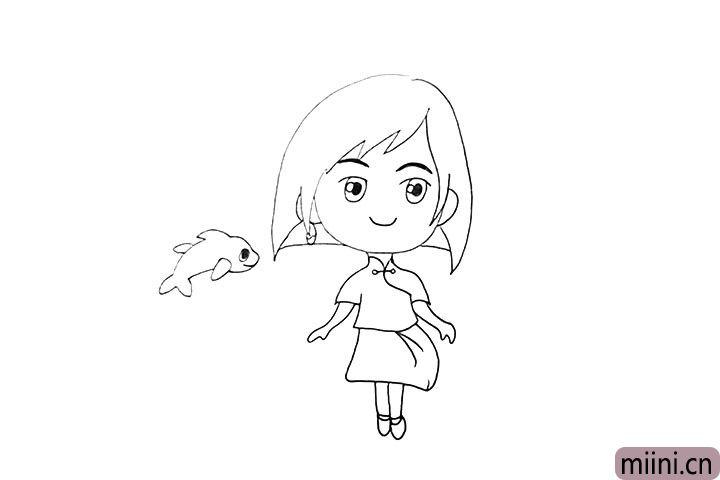 11.接着在旁边画出一条可爱的小海豚。