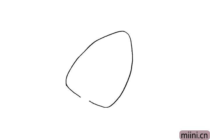 1.首先画一个圆润的三角形.底部留出一个缺口。