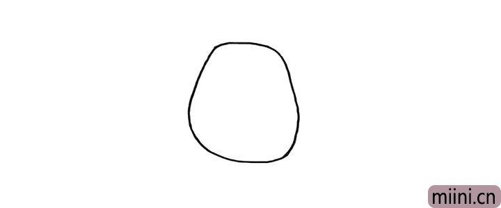 1.首先画上熊二的头部.一个不规则的圆。