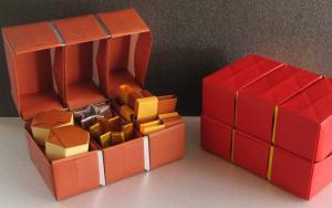 用纸折出来的组合宝箱收纳盒