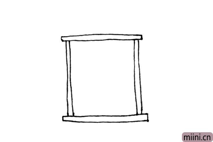 2.然后下面也画上一个长条在两边各竖下两条竖线。
