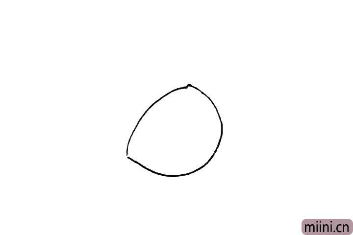 1.先画上一条弧线和半个椭圆形。