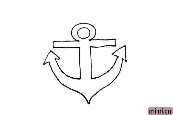 4.弧线的两边,再画上两个三角形连接起来。