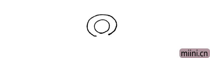 1.先画上两个圆形,外面的圆形下面不要连接。