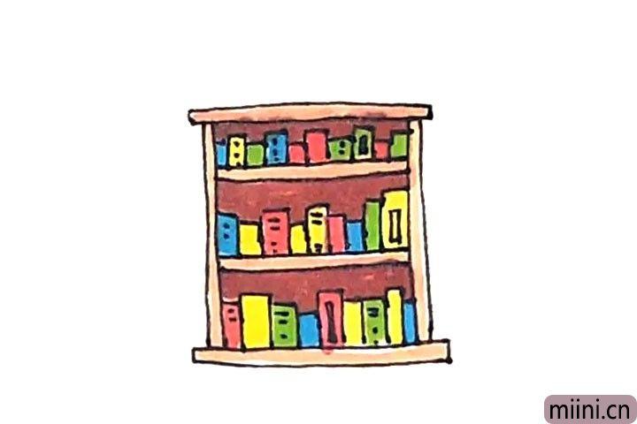 7.最后涂上好看的颜色,书架就画好了。