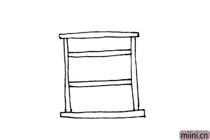 3.中间,再加上几个横条作为放书的地方。