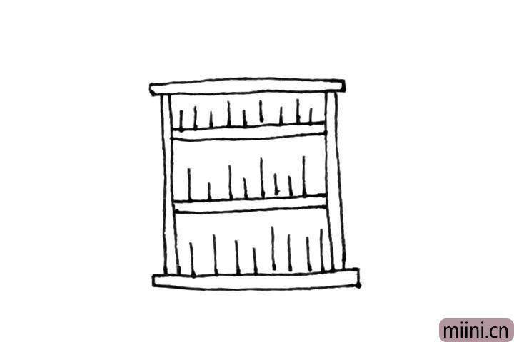 4.接着在里面画上长短不一的竖线。