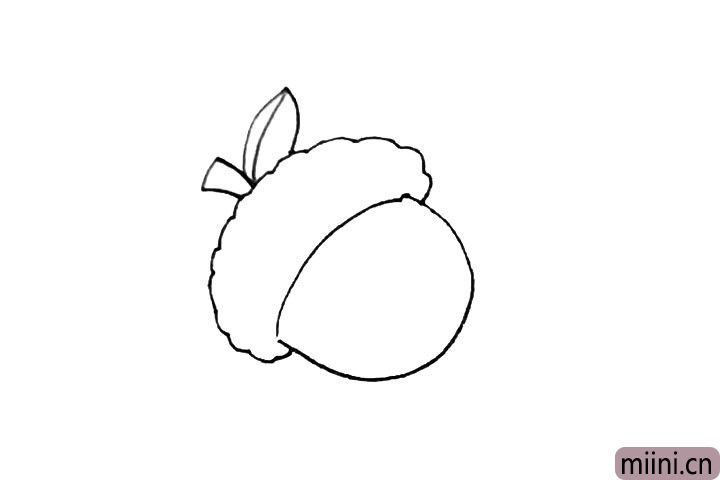 3.再画上一个方形的枝条和一片叶子。