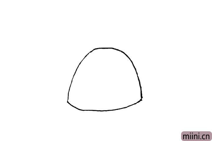 1.先画上一个半圆,用弧线链接起来。