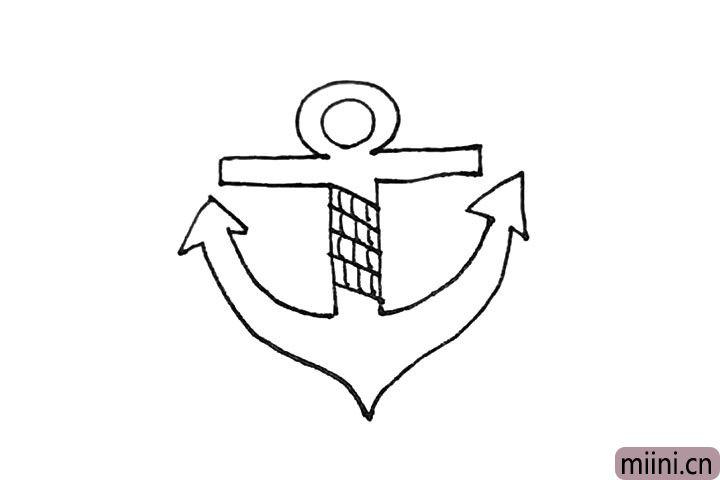 5.船锚中间的部分再画上几条斜线和短线作为绳索。