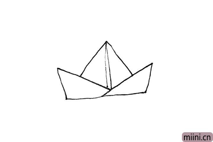 3.然后再画上一个三角形,中间画下来两条竖线。
