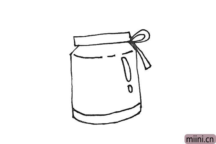 4.瓶子旁边可以加上一点装饰,例如画上一个蝴蝶结。