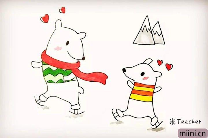 两只可爱的北极熊简笔画教程