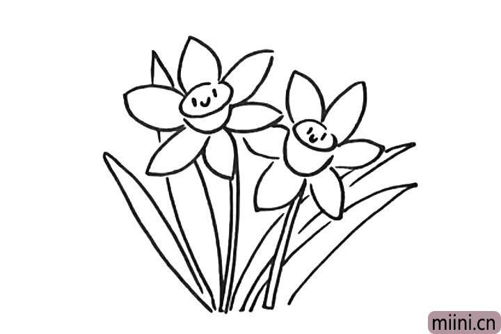 6.给水仙花画个可爱的表情。